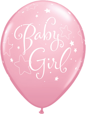 Baby Girl Stars Standard Pink Latex Round 11in/27.5cm