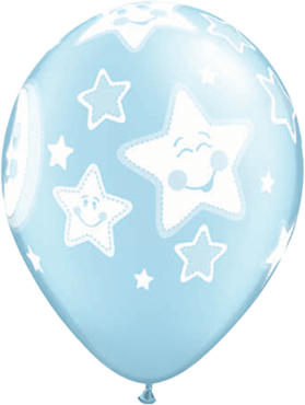 Baby Moon and Stars Pearl Light Blue Latex Round 11in/27.5cm