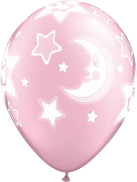 Baby Moon and Stars Pearl Pink Latex Round 11in/27.5cm