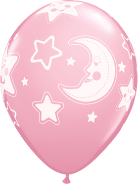Baby Moon and Stars Standard Pink Latex Round 11in/27.5cm