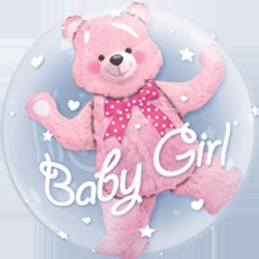Baby Pink Bear Double Bubble 24in/60cm