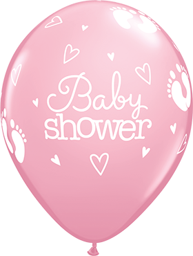 Baby Shower Footprints and Hearts Standard Pink Latex Round 11in/27.5cm