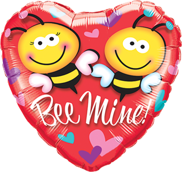 Bee Mine! Foil Heart 18in/45cm