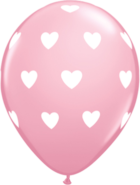 Big Hearts Standard Pink Latex Round 11in/27.5cm