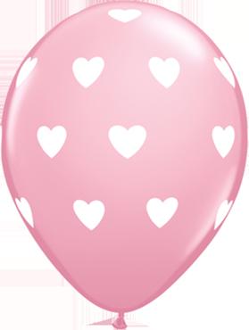 Big Hearts Standard Pink Latex Round 11in/27.5cm