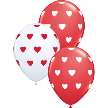 Big Hearts Standard Red and Standard White Assortment Latex Round 11in/27.5cm