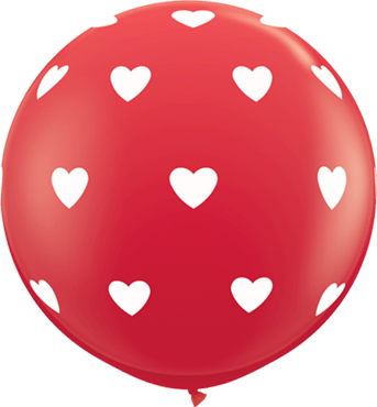 Big Hearts Standard Red Latex Round 36in/90cm