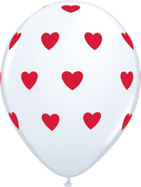Big Hearts Standard White Latex Round 11in/27.5cm