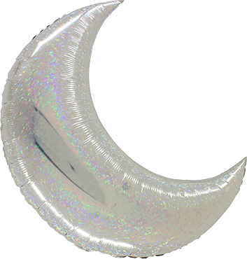 Big Moon Silver Holographic Foil Shape 42in/105cm