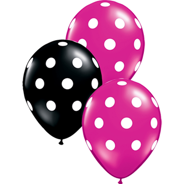 Big Polka Dots Fashion Onyx Black and Crystal Jewel Magenta (Transparent) Assortment Latex Round 11in/27.5cm