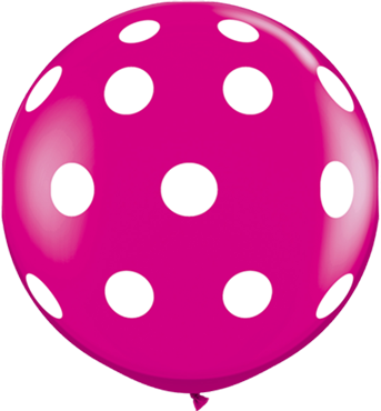Big Polka Dots Fashion Wild Berry Latex Round 36in/90cm