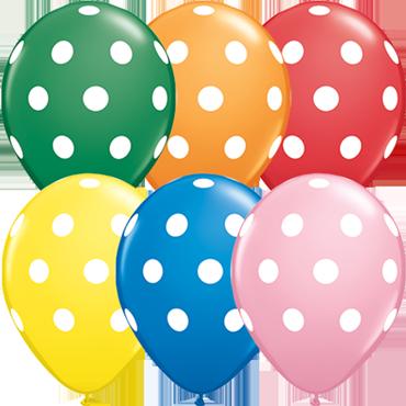 Big Polka Dots Standard Assortment Latex Round 11in/27.5cm