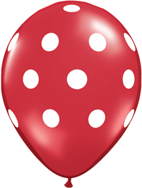 Big Polka Dots Standard Red Latex Round 11in/27.5cm