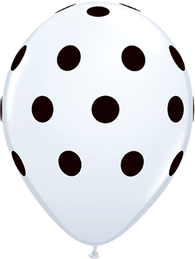 Big Polka Dots Standard White Latex Round 11in/27.5cm