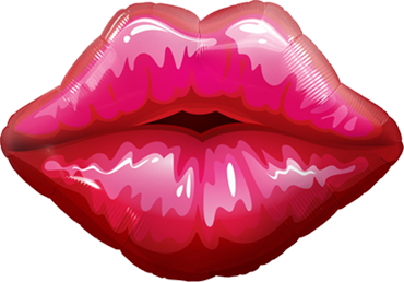 Big Red Kissey Lips Foil Shape 14in/36cm