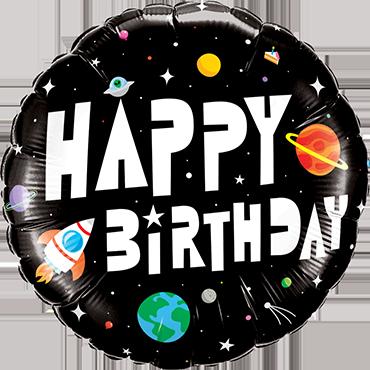 Birthday Astronaut Foil Round 18in/45cm