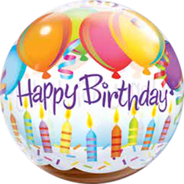 Birthday Balloons and Candles Single Bubble 22in/55cm