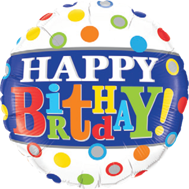 Birthday Band and Dots Foil Round 18in/45cm