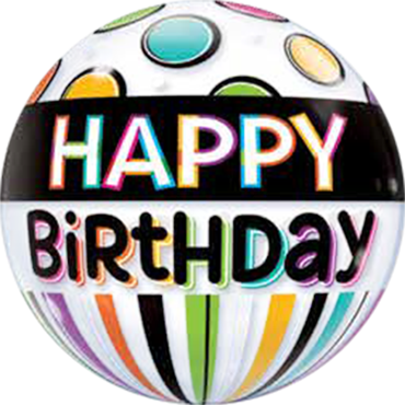 Birthday Black Band and Dots Single Bubble 22in/55cm