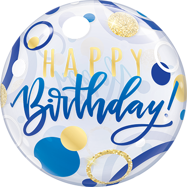 Birthday Blue and Gold Dots Single Bubble 22in/55cm