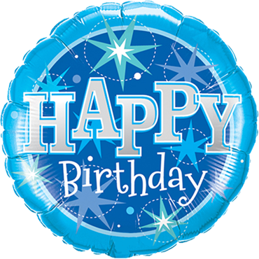 Birthday Blue Sparkle Foil Round 18in/45cm