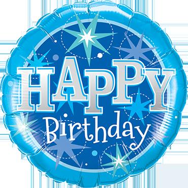 Birthday Blue Sparkle Foil Round 9in/22.5cm