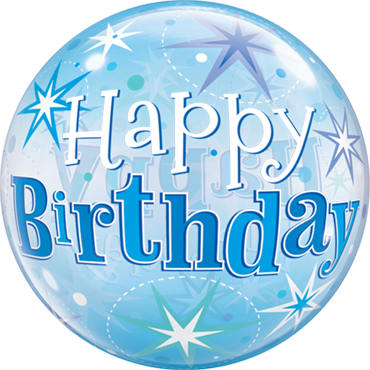 Birthday Blue Starburst Sparkle Single Bubble 22in/55cm
