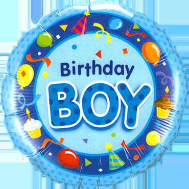 Birthday Boy Blue Foil Round 18in/45cm