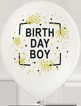 Birthday Boy Metallic Pearl Latex Round 12in/30cm