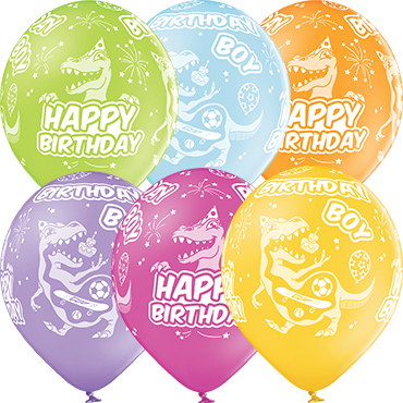 Birthday Boy Pastel Apple Green, Pastel Bright Yellow, Pastel Orange, Pastel Rose, Pastel Lavender and Pastel Sky Blue Assortment Latex Round 12in/30cm