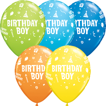 Birthday Boy Standard Dark Blue, Standard Yellow, Standard Orange, Fashion Robins Egg Blue and Fashion Lime Green Assortment Latex Round 11in/27.5cm