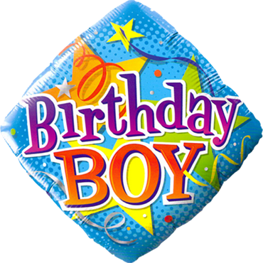 Birthday Boy Stars Foil Diamond 18in/45cm