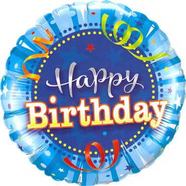 Birthday Bright Blue Foil Round 9in/22.5cm