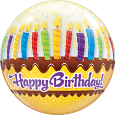 Birthday Candles and Frosting Single Bubble 22in/55cm