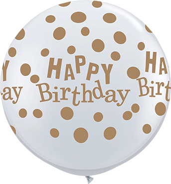 Birthday Confetti Dots Diamond Clear (Transparent) w/Gold Ink Latex Round 36in/90cm