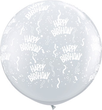 Birthday Crystal Diamond Clear (Transparent) Latex Round 36in/90cm