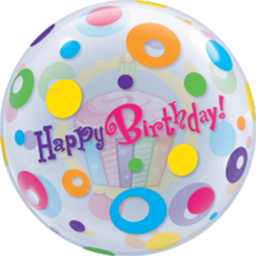 Birthday Cupcake and Dots Single Bubble 22in/55cm