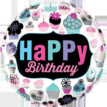 Birthday Cupcakes Emblem Foil Round 18in/45cm