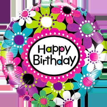 Birthday Daisy Patterns Foil Round 18in/45cm