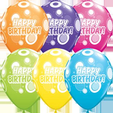 Birthday Dots and Glitz Retail Assortment Latex Round 11in/27.5cm