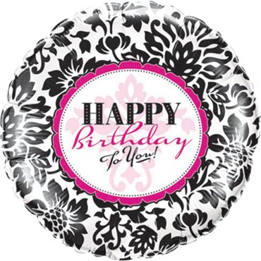Birthday Elegant Damask Foil Round 9in/22.5cm