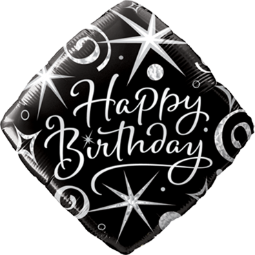 Birthday Elegant Sparkles and Swirls Foil Diamond 18in/45cm