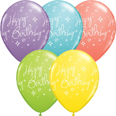 Birthday Elegant Sparkles and Swirls Sorbet Assortment Latex Round 11in/27.5cm