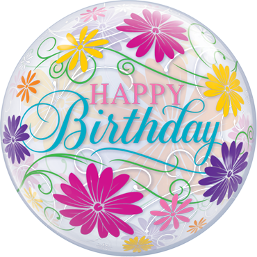 Birthday Flowers and Filigree Single Bubble 22in/55cm