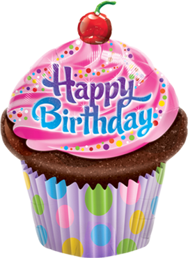 Birthday Frosted Cupcake Foil Shape 35in/87.5cm