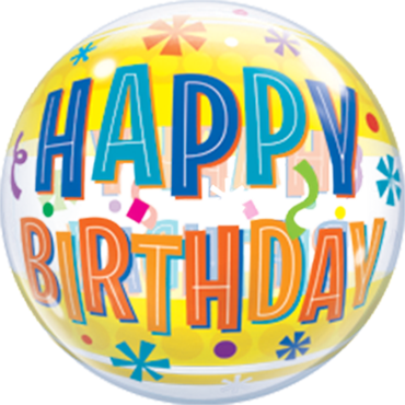 Birthday Fun and Yellow Bands Single Bubble 22in/55cm