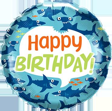 Birthday Fun Sharks Foil Round 18in/45cm