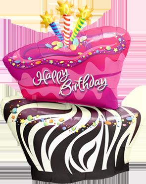 Birthday Funky Zebra Stripe Cake Foil Shape 41in/102.5cm