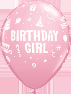 Birthday Girl Standard Pink Latex Round 11in/27.5cm