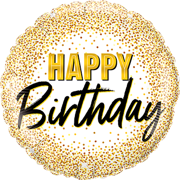 Birthday Gold Glitter Dots Foil Round 18in/45cm